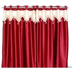 Crush Material Red Ivory Curtains