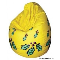 Yellow Cherry Printed Comfortable Branded XXL Sized Bean Bag