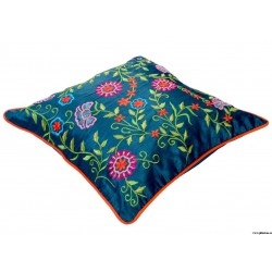 Traditional Dark Aqua Embroidery Cushion Cover at ghfonline.in