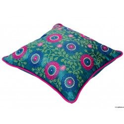 Traditional Shiny Light Aqua Embroidery Cushion Cover at ghfonline.in