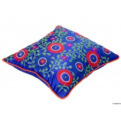 Traditional Royal Blue Embroidery Cushion Cover at ghfonline.in