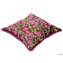 Traditional Brown Embroidery Cushion Cover at ghfonline.in